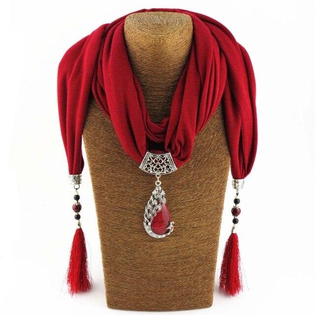 Donne Sciarpa Pendente Della Collana Natura ciondolo Pietra collana della Frangia della nappa Sciarpa Dei Monili Con perline Monili Etnici