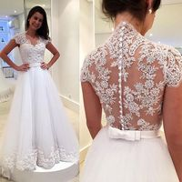 Short Sleeve See Through Back Wedding Dress Sexy V Neck A Line Appliques Lace Dress For
