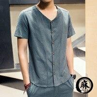 2017 Réel D'été Mode Casual Chemise à manches Courtes Nouveaux Hommes de Linge Slim Fit Coréenne Version Hommes Chemises, livraison Et Drop Ship