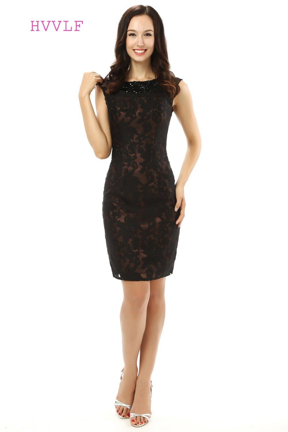 Grande taille noir 2019 mère de la mariée robes gaine courte Mini dentelle robe de mariée mère robes pour mariage