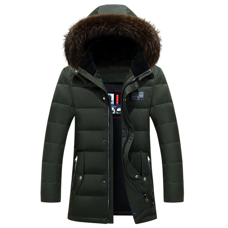 Winter Jackets Mens Brand Duck   Down   Jacket high quality Fur Collar   Down     Coat   Hooded Jacket Parka men Mid Long   Down     Coat