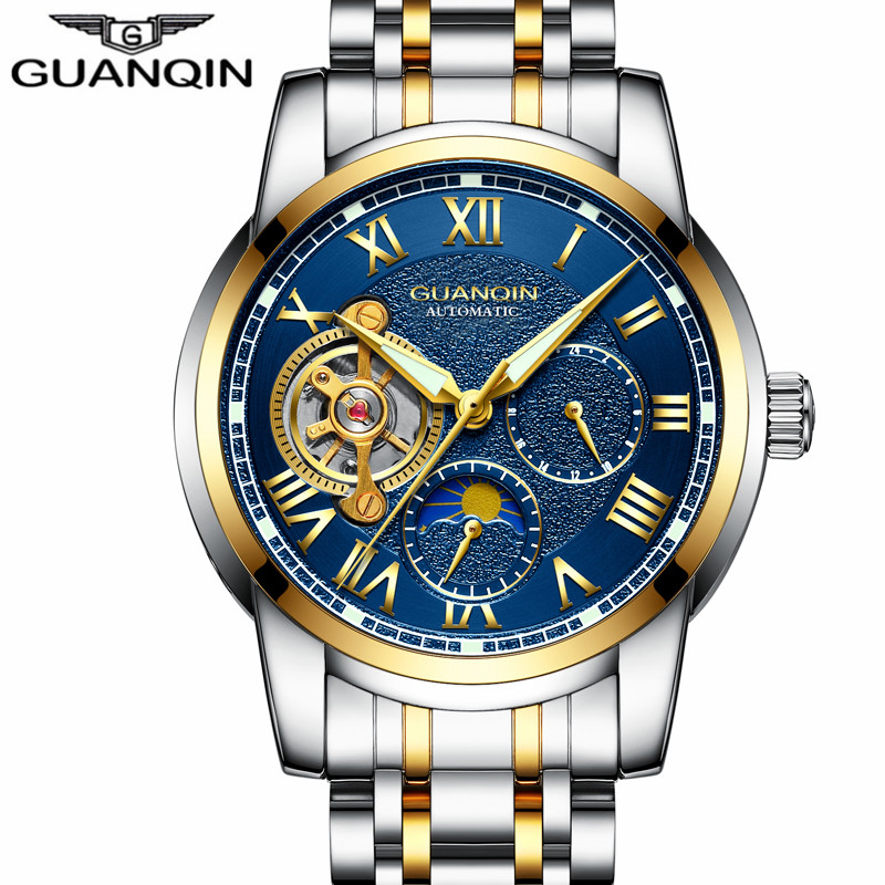 GUANQIN Brand Automatic Watch Men Luxury Tourbillon Business Watch Men Sport Waterproof Mechanical Wristwatch Relogio Masculino top brand men automatic self wind watch guanqin date watch men s fashion casual leather mechanical wristwatch relogio masculino