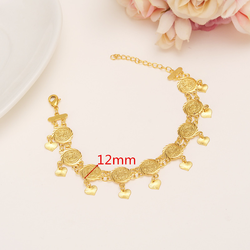 Coins 22K 23K 24K THAI BAHT YELLOW GOLD GP Bracelet 19CM+3CM Women/Men Bangle Wholesale  ...