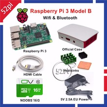 Best price 52Pi 2017 Raspberry Pi 3 Model B Starter Kit with Official Case 16GB NOOBS 5V 2.5A EU/US/UK/AU Power Supply Heatsinks HDMI Cable