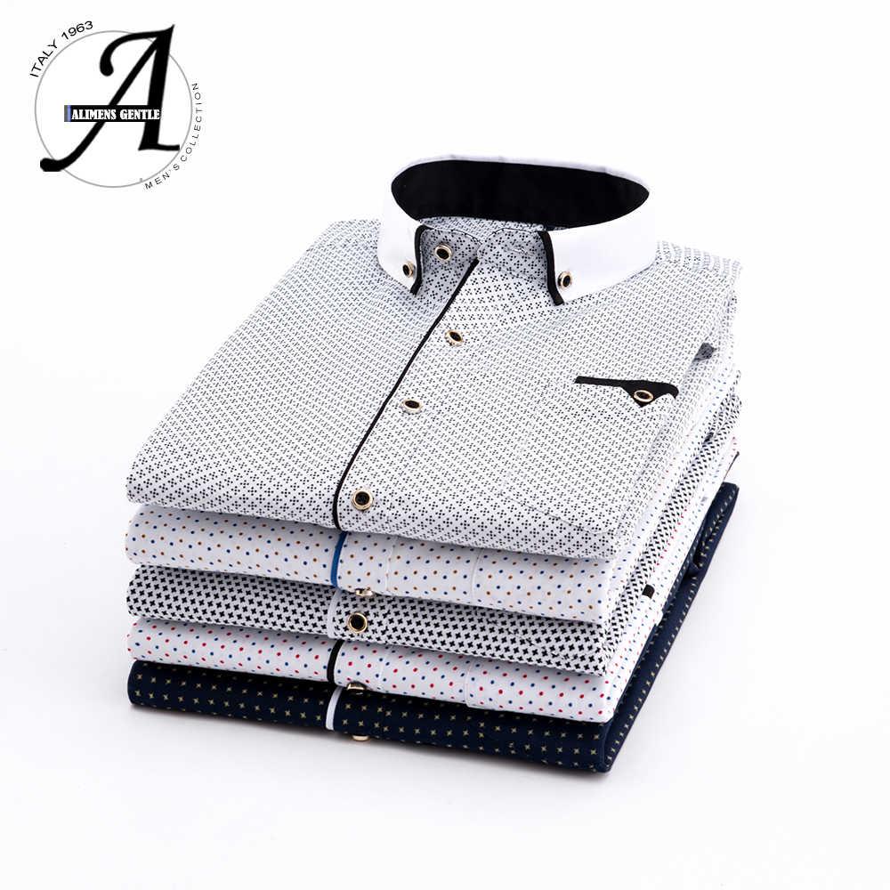 プリントチェック柄水玉男性のシャツの長袖カジュアルシャツスリムフィット 21 色男性ドレスシャツ camisas Masculina