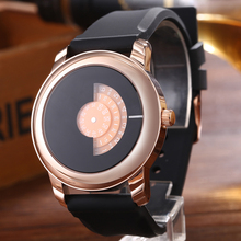 Luxury Mens Watch Rose Gold Case Colors Turntable Dial Quartz Sports Rubber Band Top Brand Wristwatches Relogio Masculino