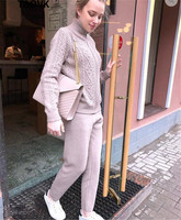 TAOVK Winter Woolen + Cashmere Knitted Warm Suits Women Knitting Zipper Cardigan + Trousers Pants Two Piece Set