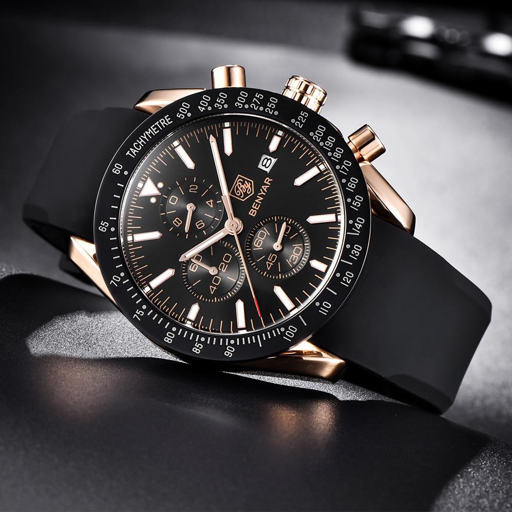 2018 Top Brand Luxury BENYAR Men Sport Watch Chronograph Silicone Strap Quartz Army Military Watches Clock Men Relogio Masculino цена