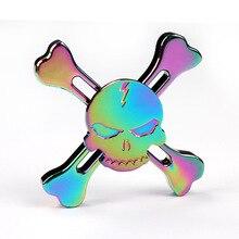 เย็นหัวกะโหลกที่มีสีสันEDC Triอยู่ไม่สุขปั่นของเล่นโลหะมือปั่นผู้ใหญ่ของเล่นสำหรับเด็กสมาธิสั้น