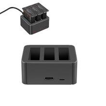 Adaptador de cargador 3 en 1, Cargador de baterías de puerto de carga USB tipo c para dji OSMO Action, accesorios para cámara deportiva