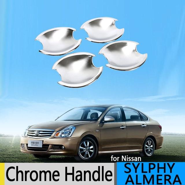 Для Nissan Almera Bluebird Sylphy G11 2006-2015 роскошный Chrome дверные ручки Обложки 2009 2010 аксессуары наклейки стайлинга автомобилей