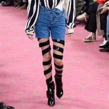 цена Black Runway Cross Gladiator Thigh High Boots Designers Cut-out High Heels Shoes Women Fashion Catwalk Women Over The Knee Boots онлайн в 2017 году