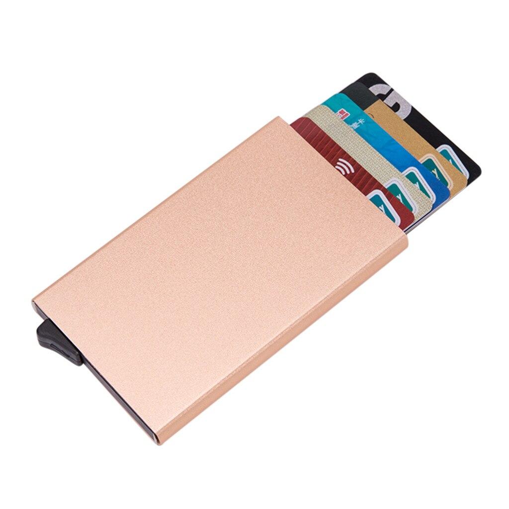 High-Grade Alumina Solid Color Automatic Pop-Up Anti-Theft Bank Card Box Credit Passport Card Bag ID Passport Card Wallet