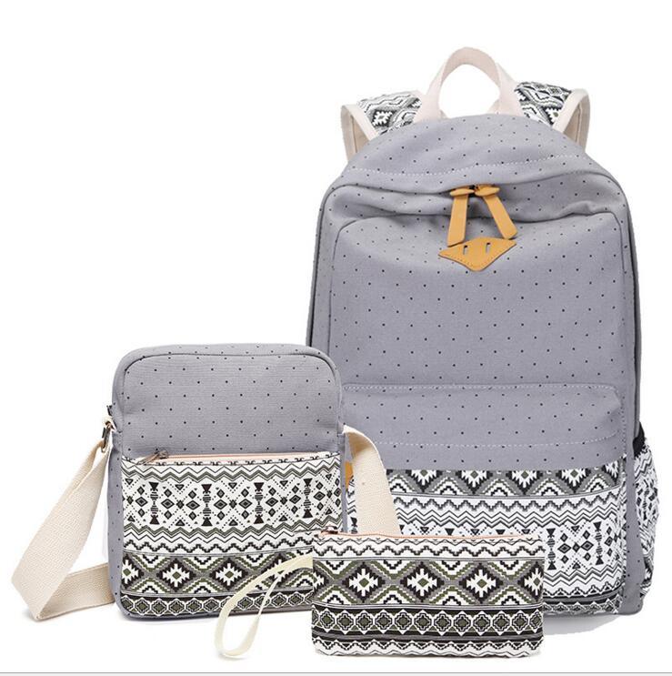 Ecoparty 3pc Printing Canvas Women Girl Teenager Backpack Set Cut Dot Print Ethnic School Travel Fashion