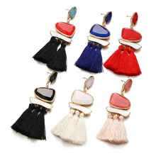 2019 New National Wind Earrings Womens Cotton Tassel Retro Gem Resin Wedding Party Gift