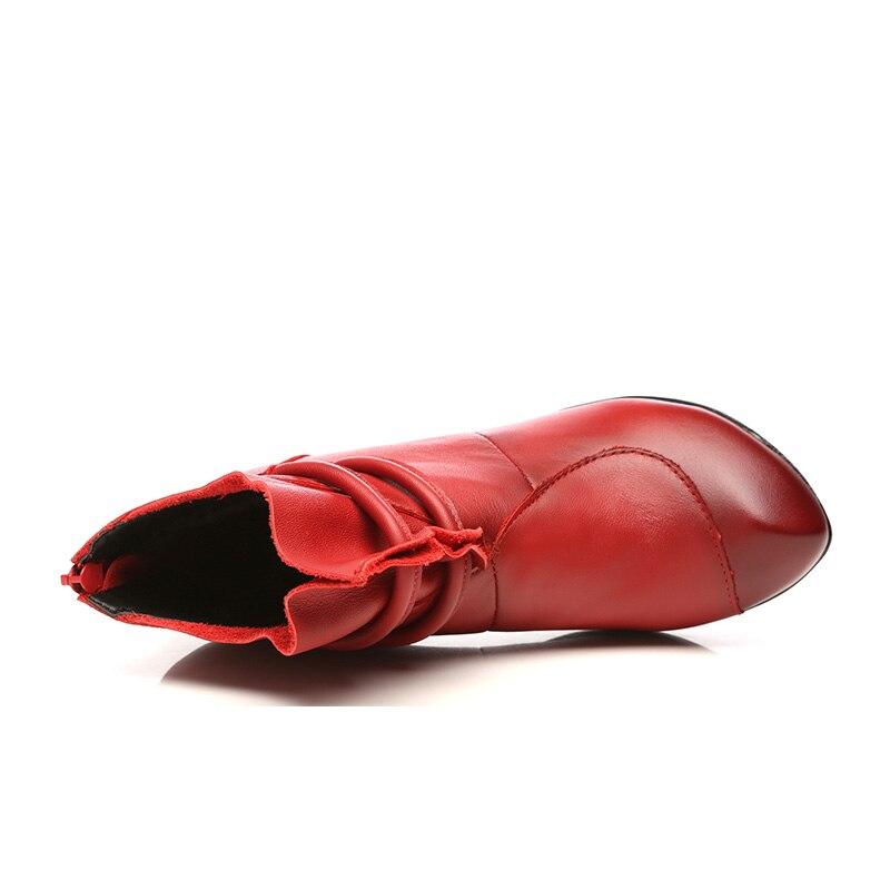 Hauts Talons Bottes À En Rétro Dame rouge Courte Véritable Noir Hovinge Automne Cheville modena Cuir Coton Chaussures Velours Hiver Femmes wPkOn0