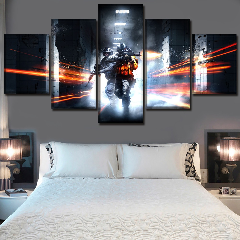 Wall Art Poster Modular Canvas HD Prints Paintings 5 Piece Game Battlefield 3 Fighting Pictures Home Decor Living Room Framework