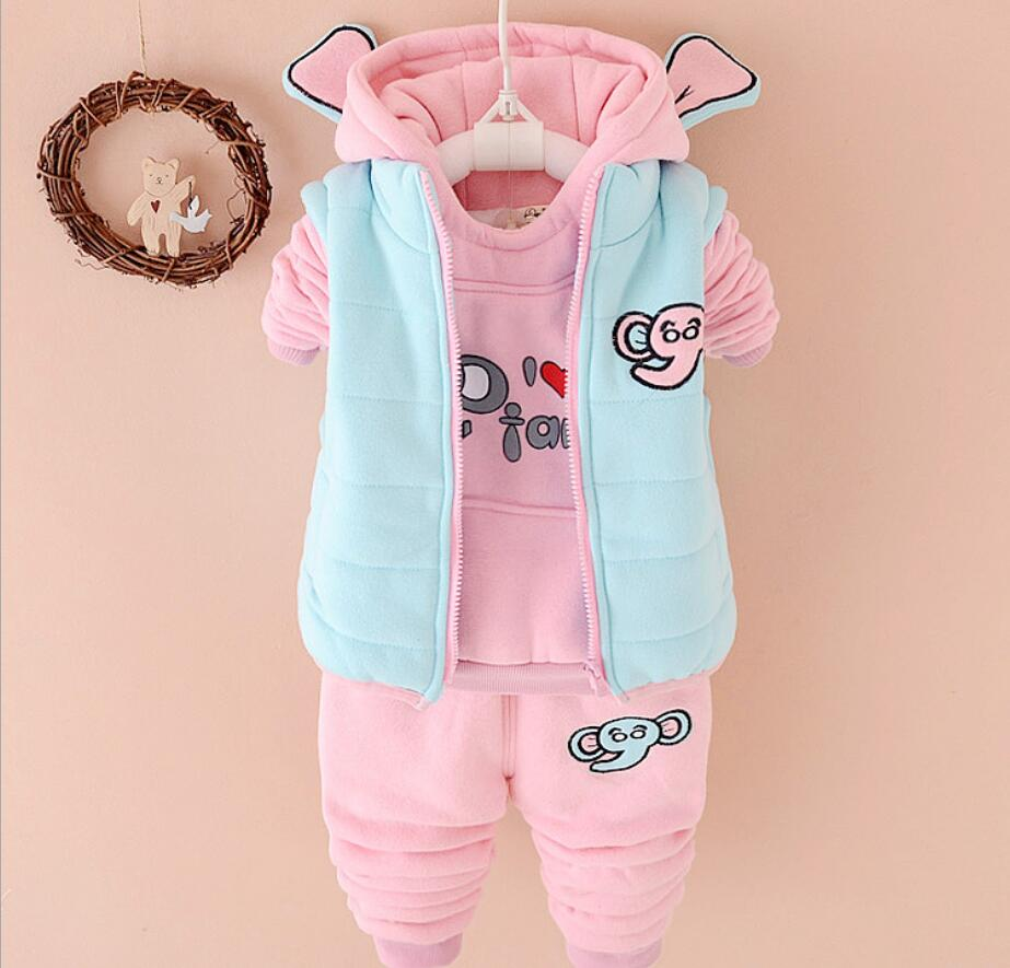 3Pcs Autumn Winter Boys Girls Coats Children Sets Warm Toddler Top Tanks Hoodies+Vest+Ba ...