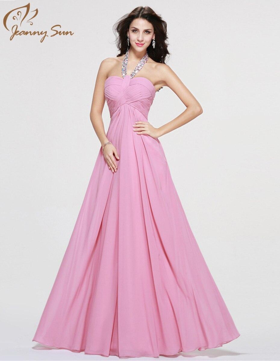 Jeanny sol rosa elegante vestidos noche rebordear cuello Halter una ...
