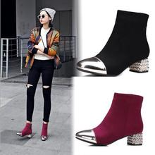 freeshipping 35-39 yards 2017 new autumn and winter European and American women's shoes with rough boots head side zipper rough