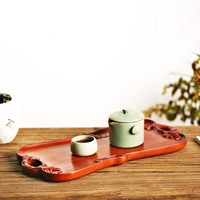 Household Gongfu Tea Tray Wooden Food Drinkware Tray Rosewood Copper Japanese Style Rectangular Shape Fruit Tray 100% Handmade