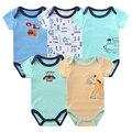 5 unids/lote verano mono del bebé del algodón overoles de manga corta clothing for body ropa de bebé girls boy monos infantiles clothing