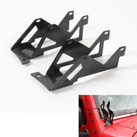 Black Color Dual 3 LED Light Bar A Pillar Mounting Brackets Kit 2Pcs Pair For Wrangler