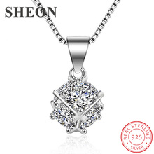 купить SHEON Elegant 100% 925 Sterling Silver Simple Rubik's Cube Inlaid Zircon Pendant Necklaces Fashion Women Sterling Silver Jewelry дешево