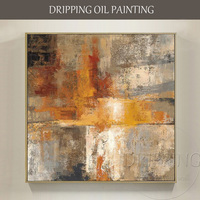 מצויר ביד אמן ציור שמן באיכות גבוהה מודרני מופשט על בד תקציר צהוב שמן לסלון קישוט