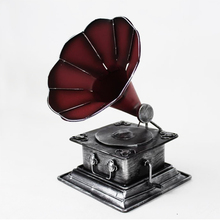 Retro Phonograph Model Ornaments Home Decoration Accessories Resin Gifts Desktop Crafts Decor Christmas Toys Craft