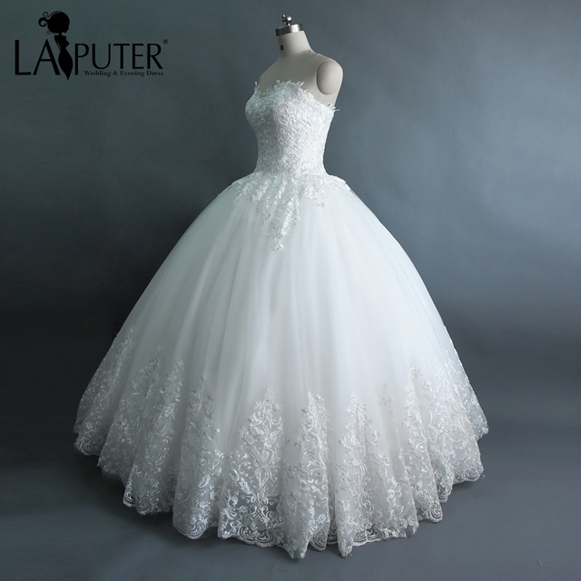 Laiputer Real Photos Off the Shoulder Sweetheart Ball Gown Tulle ...