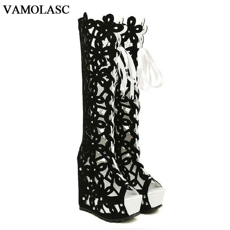 VAMOLASC New Fashion Women Autumn Summer Leather Knee High Boots Sexy Lace Up Wedge 13cm High Heel Boots Platform Women Shoes 2015 new style women blue wedge boots pu leather women white autumn boots lace up platform boots x793 5