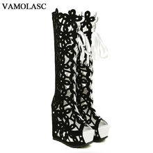 VAMOLASC New Fashion Women Autumn Summer Leather Knee High Boots Sexy Lace Up Wedge 13cm High Heel Boots Platform Women Shoes