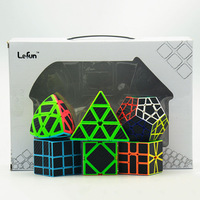 6pcs/set Strange Shape Cube Set Lefun Magic Cube Mastermorphix+SQ 1+Meg+Mirror Block+Pyramid+Ske Black Sticker Gift Package