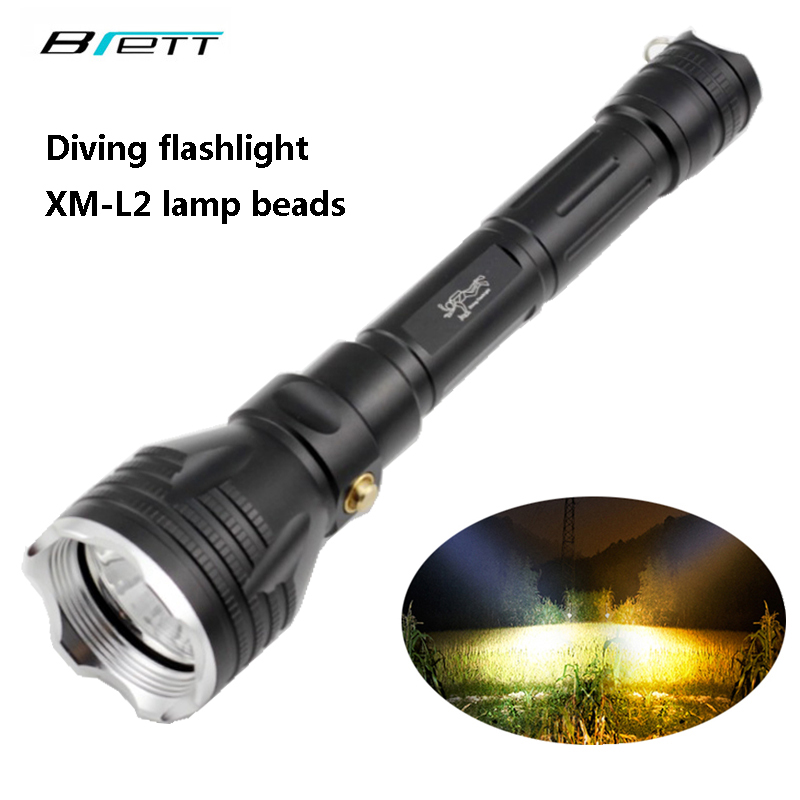 Diving flashlight CREE XM-L2 white or T6 yellow light Outdoor diving Hunting Search for Carry daily Self Defense LED flashlight