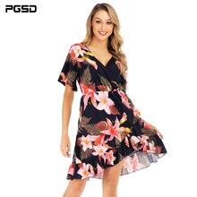 PGSD Summer casual Short-sleeved flower Printed V-neck Lotus Leaf Edge big pendulum Short Dress female Fashion women clothes