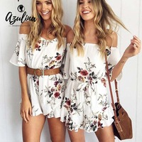 AZULINA Casual Off Shoulder Floral Print Women Romper Jumpsuit 2017 Summer Sexy Beach Loose Playsuits White