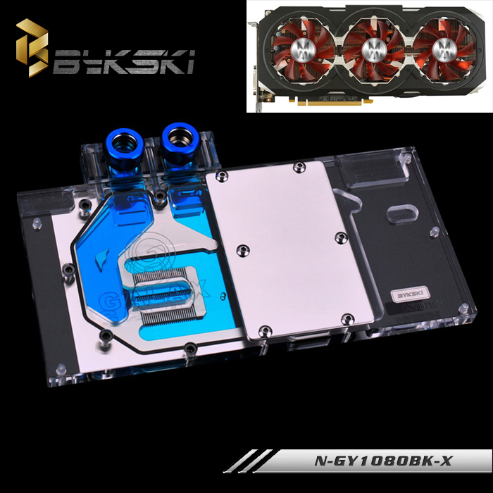 BYKSKI Full Cover Graphics Card Water Cooling GPU Block use for GALAXY GTX1080 GTX1070 N-GY1080BK-X with RGB Light 2pcs lot video cards cooler gtx 1080 1070 1060 fan for msi gtx1080 gtx1070 armor 8g oc gtx1060 graphics card gpu cooling
