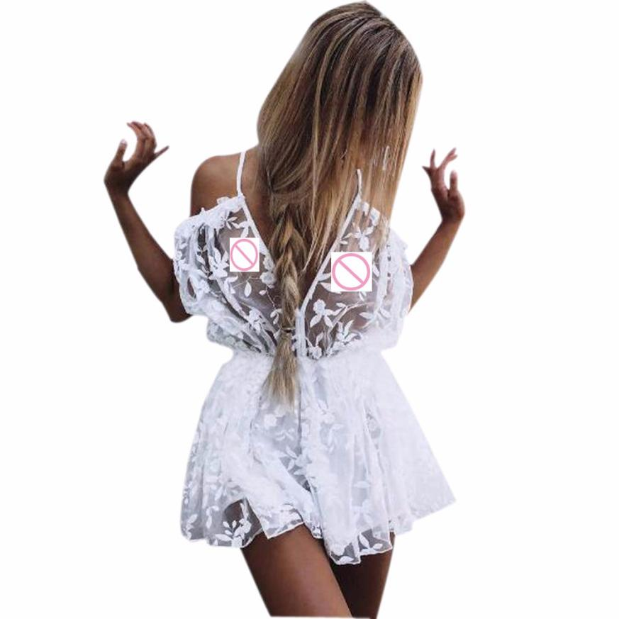 Womens See Through Lace Playsuit Ladies Plunge Holiday Short Jumpsuit womens jumpsuit shorts summer plus size