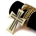 Хип-Хоп Черный Масло Крест Религиозных Jewellery80 См/90 см Длинной Цепи Shinning Кристалл Серебро/золото Распятие Мужчины Ожерелье N160