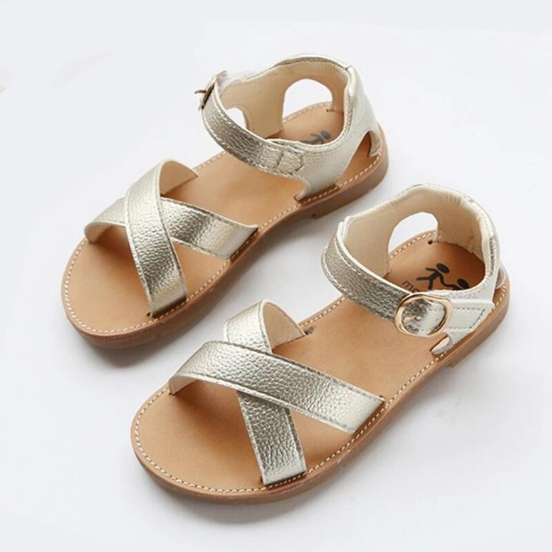 Skhek pu leather gold toddler sandals girls shoes kids summer baby girls sandals shoes skidproof toddlers infant children kids shoes black gold white