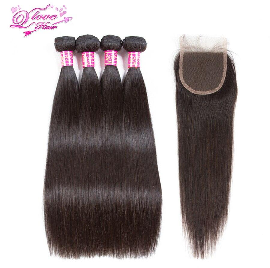 Queen Love Hair Peruvian Straight Hair Lace Closure Hair Weave Bundles Remy Natural Color Human Hair