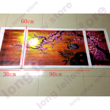 100% Hand Painted Plum Blossom and Crane Sunset Landscape Oil Painting on Canvas Animal Flower Handmade Home Decorations Custom