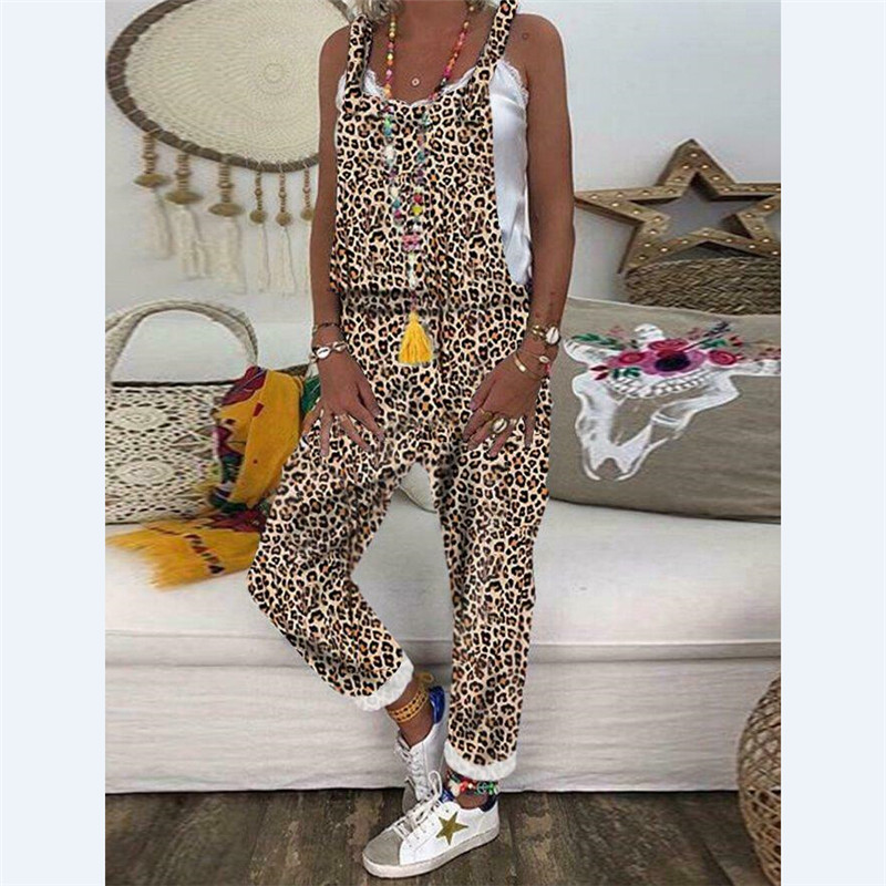 Trendy Backless Harem Jumpsuit Leopard Print Jumpsuit Women Long Rompers Sexy Club Casual Overalls Long Pants