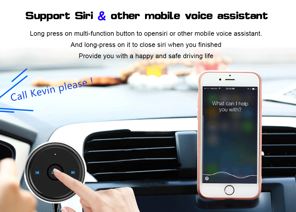 FDOMAIN auto 3.5mm jack AUX bluetooth adapter hands free car kit audio receiver support siri and other mobile voice assistant 17