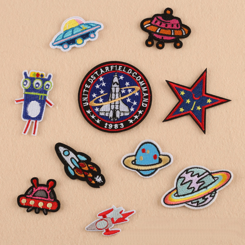 Planet Flying In Air Repair Badge Patch Embroidered Patches For Clothing Iron On Close Shoes Bags Badges Embroidery DIY