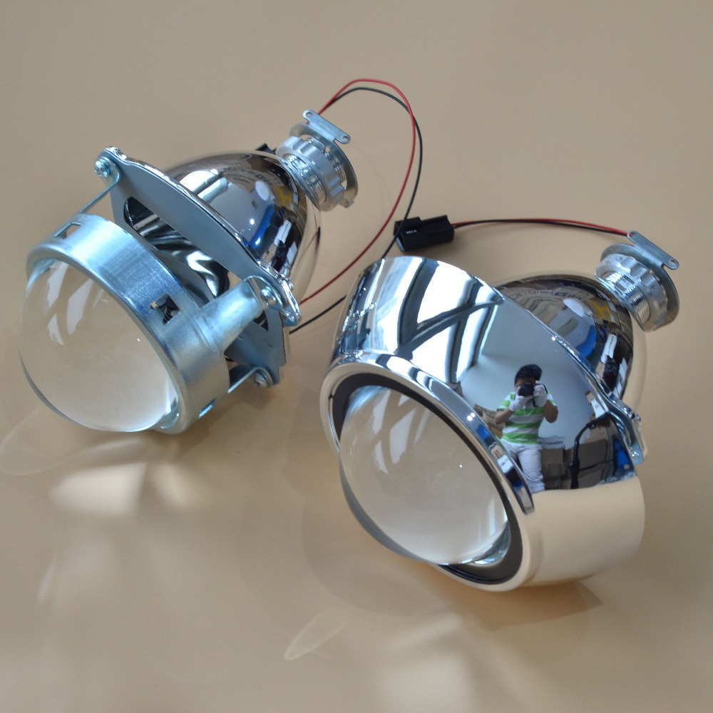 New 3 Inches WST Bi Xenon Projector Lens Using H1 xenon lamp with shroud Easy Install for Most Car Headlight Retrofit Metal Type