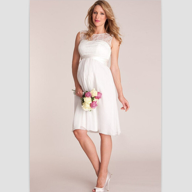 Blanco de Encaje Cortos Vestidos de Novia Para Embarazadas 2015 de ...