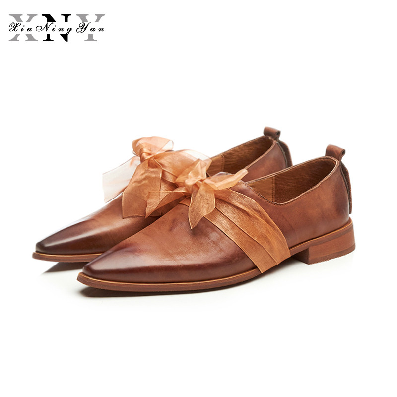 XiuNingYan Women Flats Oxford Shoes Flat 100% Genuine Leather Vintage Shoes Square Toe Handmade 2018 Oxfords Shoes for Woman xiuningyan vintage british style oxford shoes for women genuine leather flat shoes women us size13 handmade black leather shoes