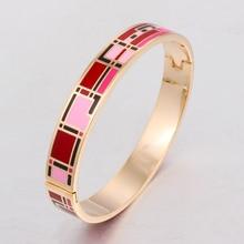Diseño de Apertura Brazalete de la Pulsera para Las Mujeres Joyería de la vendimia de Color de Esmalte de Acero Inoxidable Joyería de Oro Patrón de Regalo de Cumpleaños